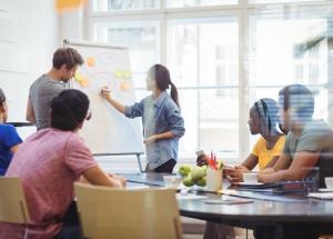 equipe usando a técnica da gestão de startups