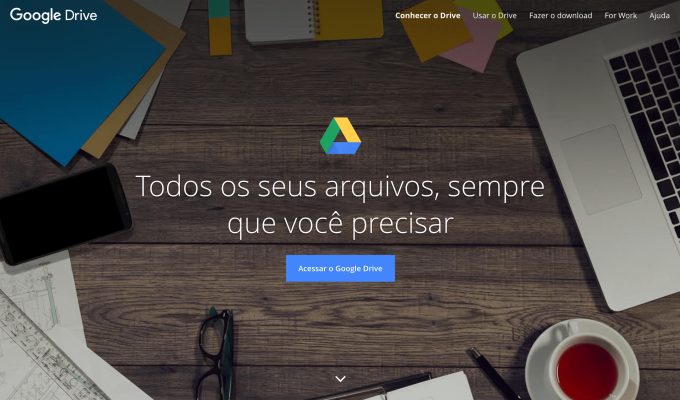 Tela inicial do Google Drive
